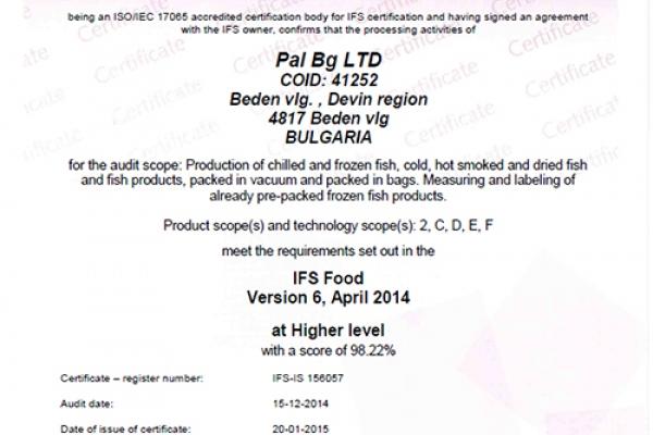Подновяване на IFS Food сертификата за 2015 г.